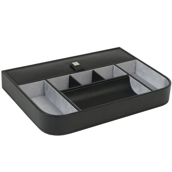 WOLF Savile Six-compartment Chrome-finish Black Leather Row Valet Tray