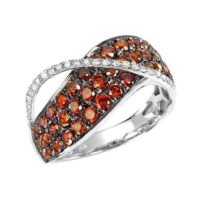 14k White Gold 1 1/3ct TDW Orange and White Diamond Ring