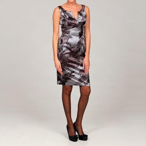 London Times Women's Printed Satin Sleeveless Sheath Dress