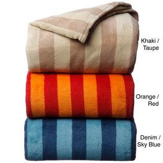 Luxury Printed Stripe Microplush Blanket