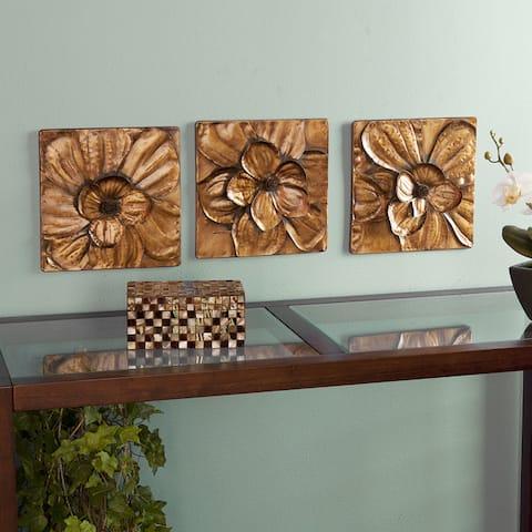 Baxley 3-Piece Metallic Gold Metal Wall Panel Set
