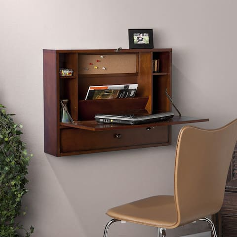 Porch & Den Arkins Brown Mahogany Wall-mount Laptop Desk