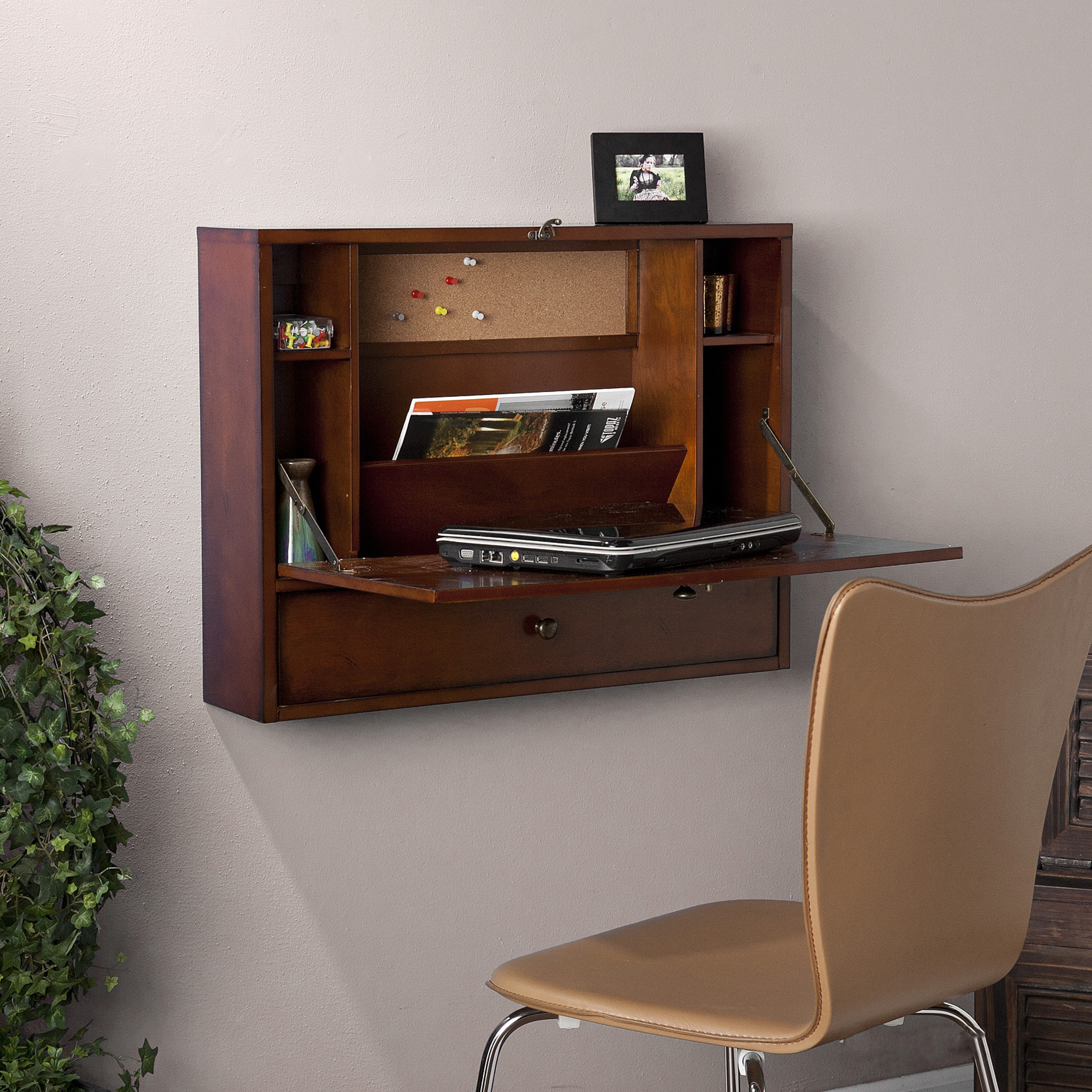 Harper Blvd Florien Brown Mahogany Wall-Mount Laptop Desk...