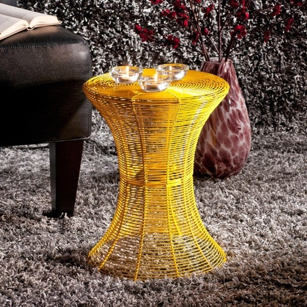 Cordoba Indoor Outdoor Yellow Round Side Table Free