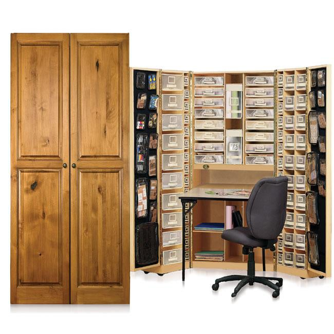 Workbox Knotty Alder Scrapbooking and Office Desk Armoire