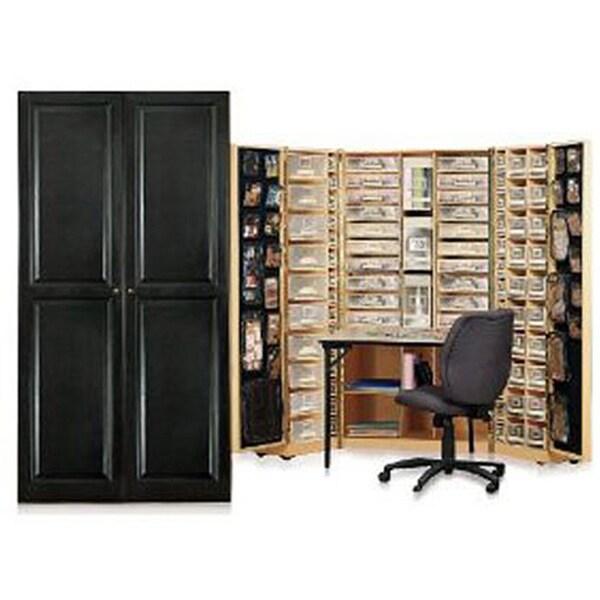 Shop Workbox Black Raised Panel Scrapbooking Storage Deskarmoire
