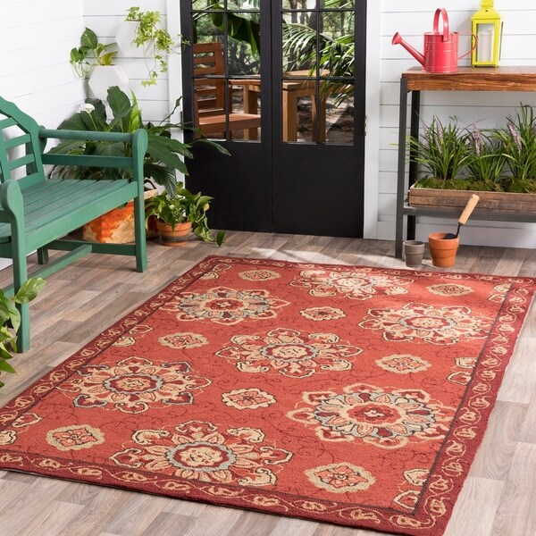 Hand-hooked Hayle Indoor/Outdoor Medallion Area Rug - 9' x 12'