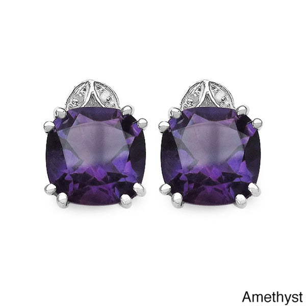 Malaika Sterling Silver Gemstone and 1/10ct TDW Diamond Earrings (I2-I3)
