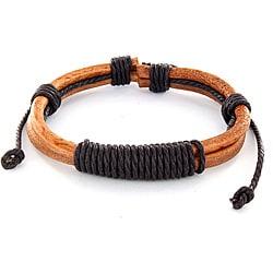 Brown Leather Shocker Tie Knot Bracelet