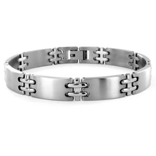 Men's Titanium Double Cross and Wide Link Bracelet