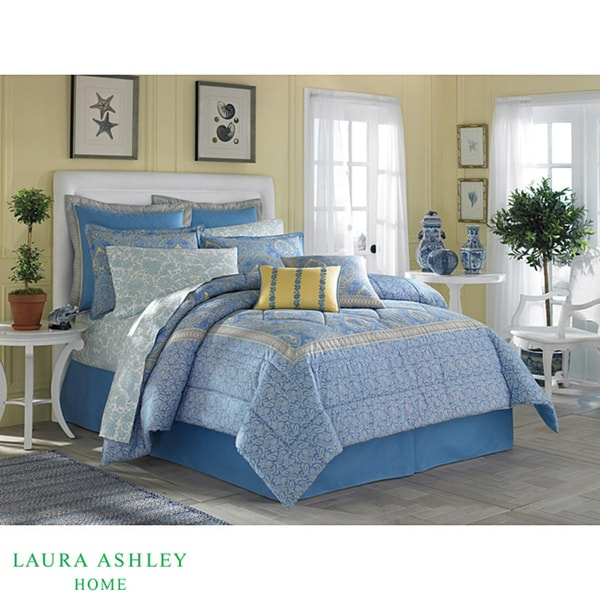 Laura Ashley Prescot Blue Yellow 3 Piece King Duvet