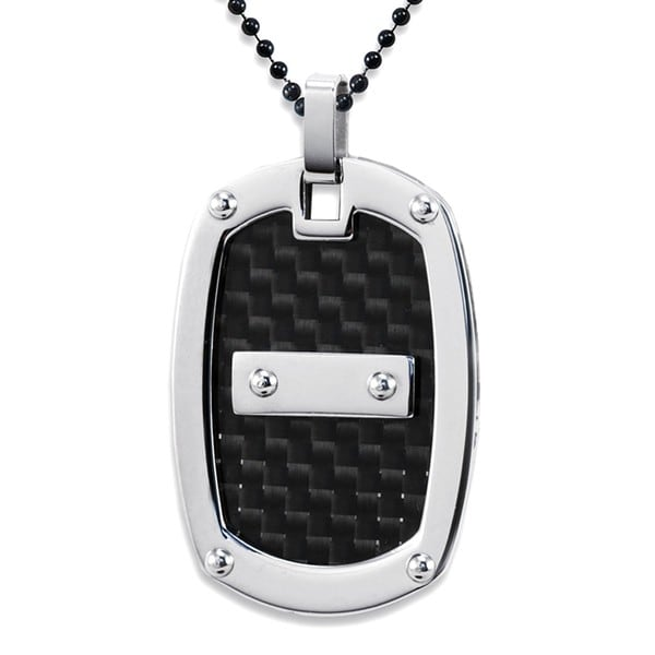 Stainless Steel Black Carbon Fiber Black Ball Chain Necklace
