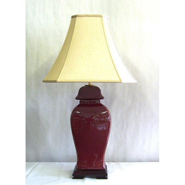 Large Oxblood with Textured Finish Covered Urn Table Lamp with Beige Square Silk Lamp Shade