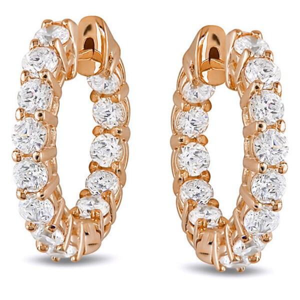M by Miadora Sterling Silver White Cubic Zirconia Hoop Earrings