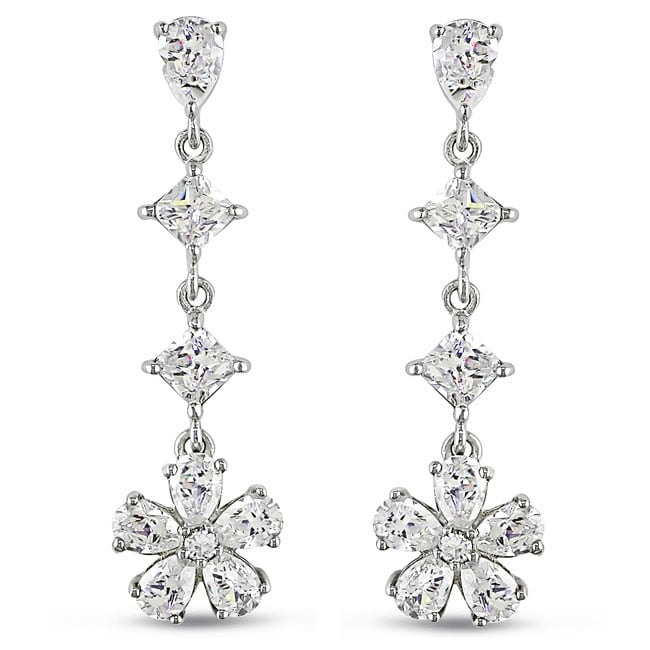 Miadora Sterling Silver Cubic Zirconia Drop Earrings 15 1 3ct Tgw