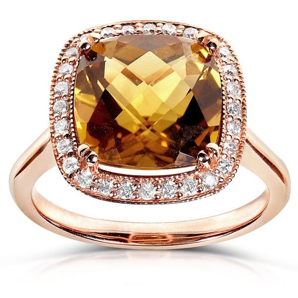 Annello by Kobelli 10k Rose Gold 1/5ct TDW Cinnamon Quartz and Diamond Ring (H-I, I1-I2)