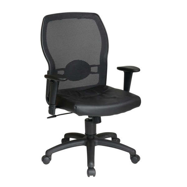 Woven Mesh Back and Leather Seat with Lumbar Support