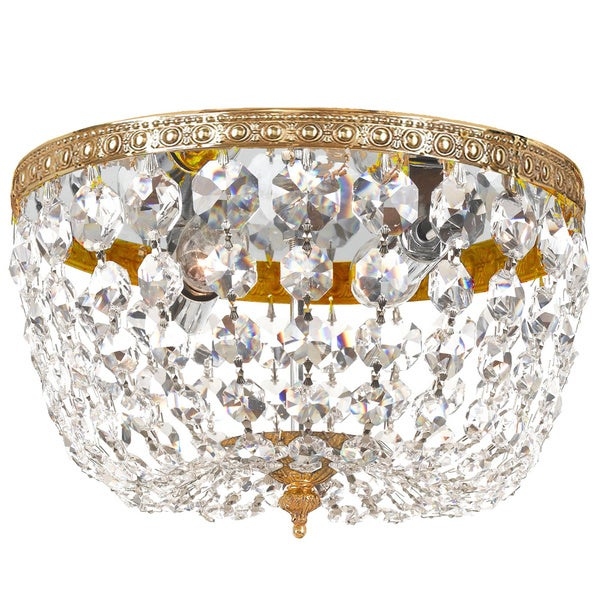 Crystorama Crystal 2-light Flush with Olde Brass Finish
