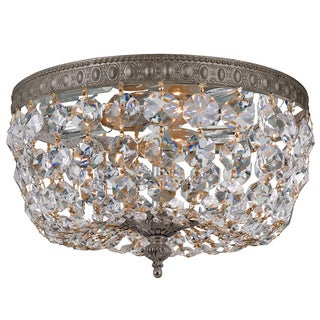 Crystorama Crystal 2-light Flush with English Bronze Finish