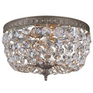 Crystorama Crystal 2-light Flush with English Bronze Finish