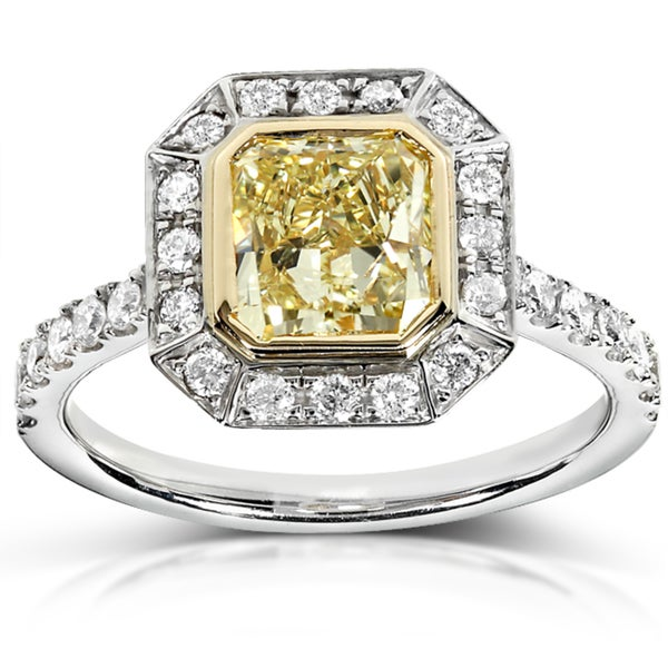 Annello by Kobelli 14k Gold 1 3/4ct TDW Certified Radiant Cut Yellow and White Diamond Ring