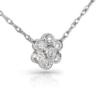 Annello by Kobelli 14k Gold Diamond Accent Floral Necklace