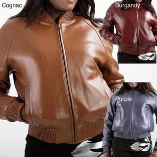 United Face Women's Urban Bomber Leather Jacket