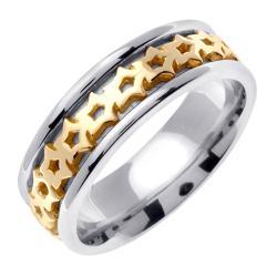 14k Two-tone Gold Men's Celtic Thorn Design Wedding Band - Thumbnail 1