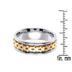14k Two-tone Gold Men's Celtic Thorn Design Wedding Band - Thumbnail 2