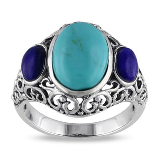 Miadora Sterling Silver Turquoise and Sodalite Fashion Ring