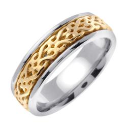 14k Two-tone Gold Men's Woven Celtic Design Wedding Band