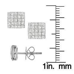 14k White Gold 7/8ct TDW Diamond Pave Stud Earrings