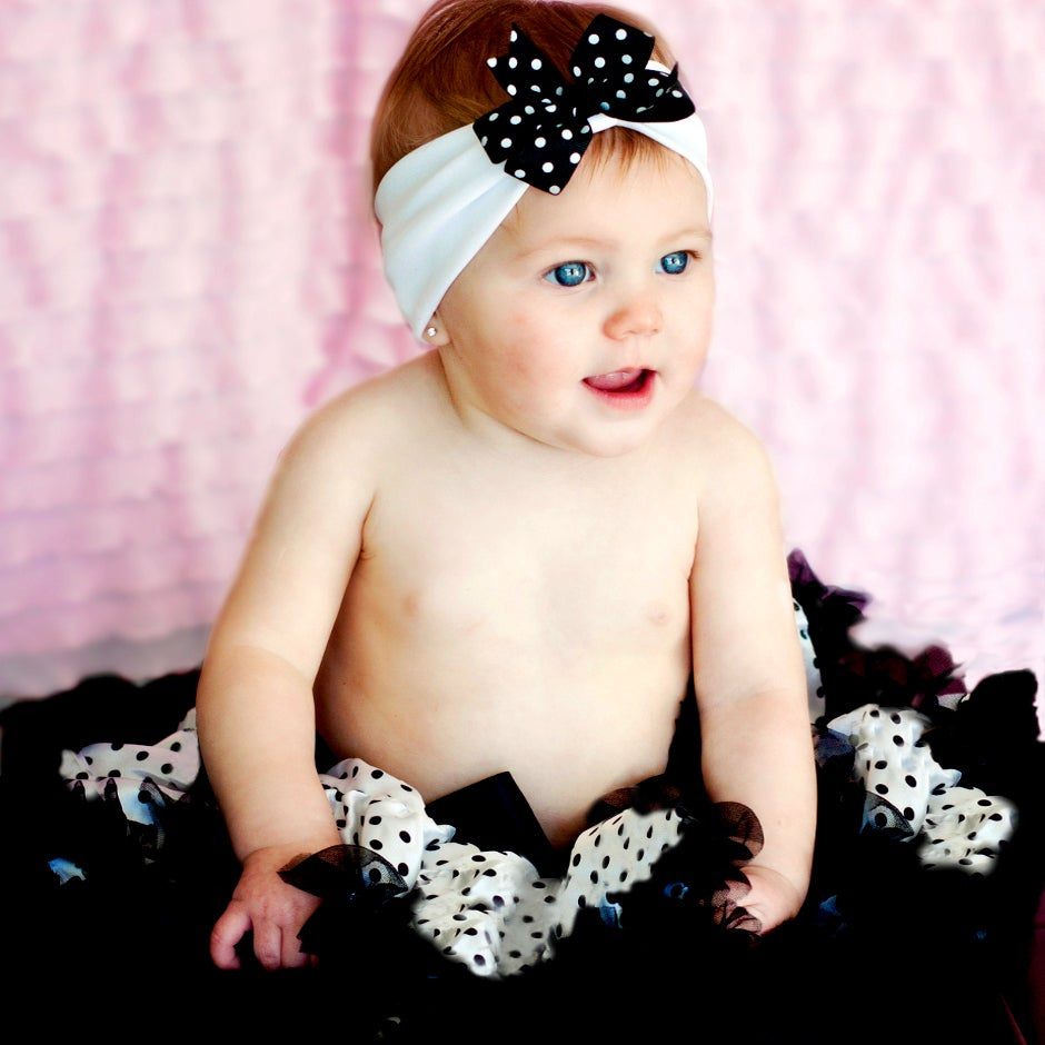 Extra Fluffy White and Black Polka Dot Tutu/ Headband/ Bow 3-piece Set