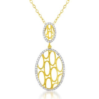 Collette Z Goldplated Sterling Silver Clear Cubic Zirconia Oval Necklace