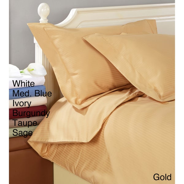 Superior Cotton 1000 Thread Count Striped Full/Queen 3-piece Duvet Cover Set