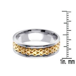 14k Two-tone Gold Men's Celtic Woven Wedding Band