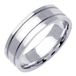 14k White Gold Men's Grooved Wedding Band