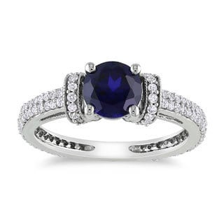Miadora 10k Gold Created Sapphire and 1/2 CT TDW Diamond Ring (G-H) (1ct TGW)