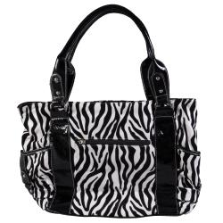 Journee Collection Women's Double Handle Zebra Print Tote - Thumbnail 1