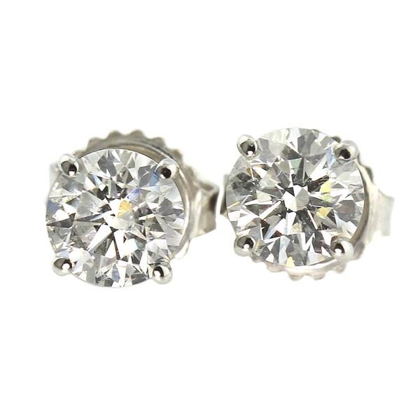 Auriya Platinum 1 1/2ct TDW Hearts and Arrows Diamond Stud Earrings (J-K, SI1-SI2)