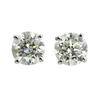 Auriya Platinum 1/2ct TDW Hearts and Arrows Diamond Stud Earrings (E-F, SI1-SI2)