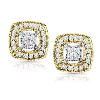 14k Two-Tone Gold 1/5ct TDW Vintage Diamond Halo Stud Earrings