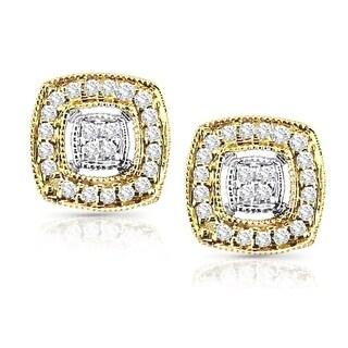 14k Two-Tone Gold 1/5ct TDW Vintage Diamond Halo Stud Earrings