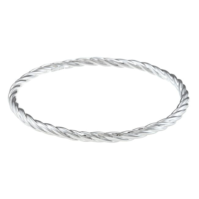 Sunstone Sterling Silver High Polish Twist Bangle Bracelet