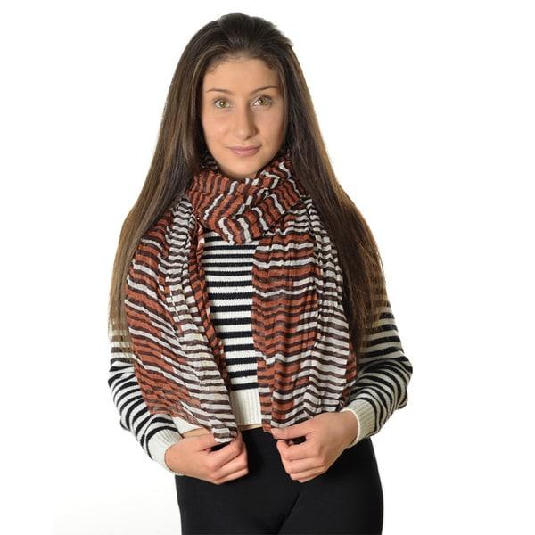 LA77 Women's Three-Toned Striped Scarf