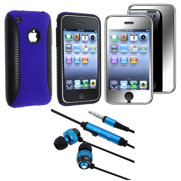 BasAcc Hybrid Case/ Screen Protector/ Headset for Apple iPhone 3GS