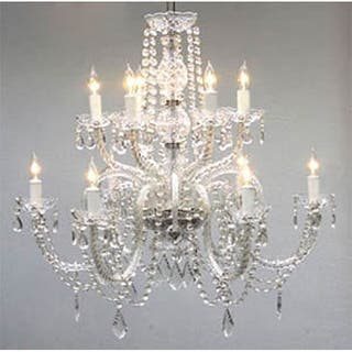 Shabby chic ceiling lights for less overstock gallery venetian style all crystal 12 light chandelier mozeypictures Images