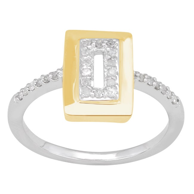 Sterling Silver 14k Yellow Plating 18/100ct TDW Diamond Ring (H-I, I3)