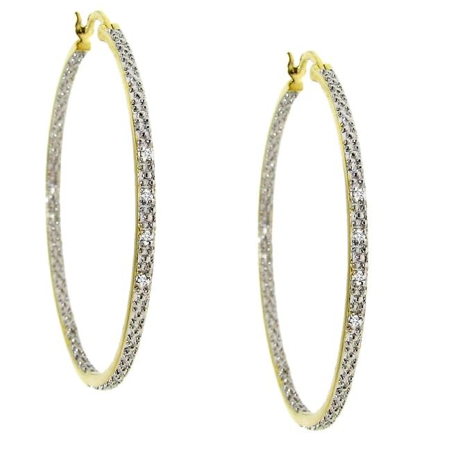 Two-tone Diamond Accent Hoop Earrings