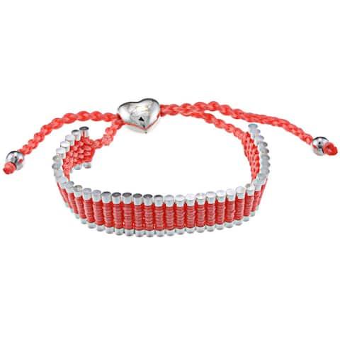 La Preciosa Silverplated Heart and Beads Friendship Bracelet